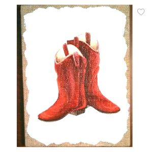 Red Cowboy Boots Painting
